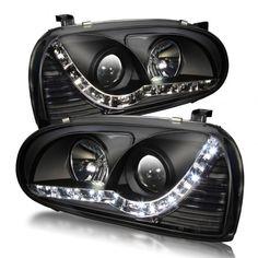 WinJet WJ10-0238-04 | 1994 Volkswagen Golf Black DRL Headlights for Coupe/Sedan/Hatchback/Wagon Black Headlights, Car Headlights, Dot Compliance, Golf Mk3, Projector Headlights, Angel Eyes, Car Lights, Volkswagen Golf, Custom Cars