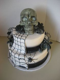 Wedding Skull With Spiders  Wedding Skull With Spiders  #skulls #halloween #halloweencake #cakecentral