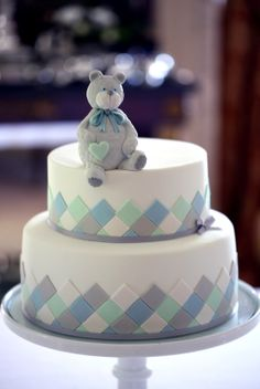 Mosaic tile cake with teddy bear
