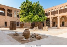 Courtyard at Traditional Architecture Museum in Heritage area at Al Shindagha,Dubai United Arab Emirates - Stock Image