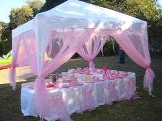 Decorated Party Canopy - decorate a standard party canopy with some inexpensive netting and ribbon. & unique food trays for boy party | Sugar Plum Parties - Childrenu0027s ...