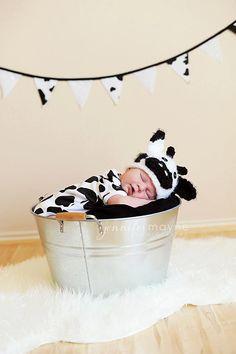 Newborn Cow Hat Crochet Baby Hat Prop. $25.00, via Etsy.