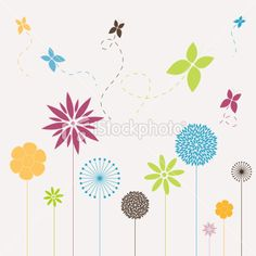 Flowers and butterflies Royalty Free Stock Vector Art Illustration