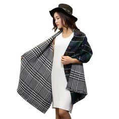 Aliexpress.com: Comprar Buena señora calidad de lana gruesa caliente chales clásica cara a cuadros Ultra larga capa con el botón elegante bufanda manta para mujeres de manta de la bufanda fiable proveedores en MASCUBE STORE