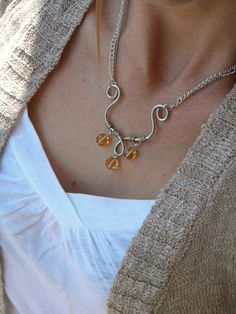Pendant Necklace Long Chain Necklace Long by ElizabellaDesign, $23.00