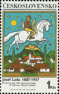Stamp: The Magic Horse by Josef Lada (Czechoslovakia) (Painter Josef Lada) Mi:CS 1824 Stamp World, Postage Stamp Design, Stamp Printing, Horse Sculpture, Vintage Stamps, Stamp Collecting, Graphic Illustration, Illustrations, Vintage Posters