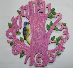 Handmade wall clock#pink#bird#for order comment