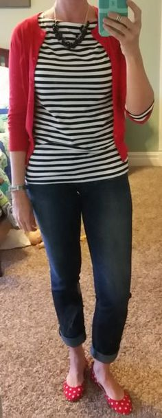 DYT type 4 4/3 outfit. Black and white striped top, red cardigan. Different necklace and black sandals
