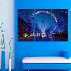 Stretched Canvas Prints The Ferris Wheel LED Flashing Optical Fiber Print  LED Wall Art LED Decorations #Affiliate