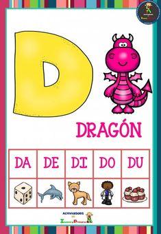 Preschool Learning Activities, Spanish Activities, Number Flashcards, Alphabet Pictures, School Colors, Phonics, Literacy, Dragon, Education