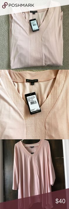 Beautiful Adrianna Papell Tops Brand New  Adrianna Papell 3/4 Top  with tag attached. Color: Pink Ice. The color is more likely shown in the last pic Adrianna Papell Tops Blouses
