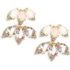Kate Spade New York Blushing Blooms Crystal Stud & Ear Jacket Set ($88) ❤ liked on Polyvore featuring jewelry, earrings, 14 karat gold earrings, post earrings, kate spade earrings, kate spade and crystal stud earrings