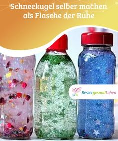 Make snow globes yourself as a bottle of peace - Better healthy living - Make a snow globe yourself as a bottle of calm It is very easy to make a snow globe or glitter ball - Diy And Crafts, Crafts For Kids, Kids Origami, Winter Coffee, Diy Shampoo, Birth Gift, How To Make Snow, Winter Makeup, Winter Flowers