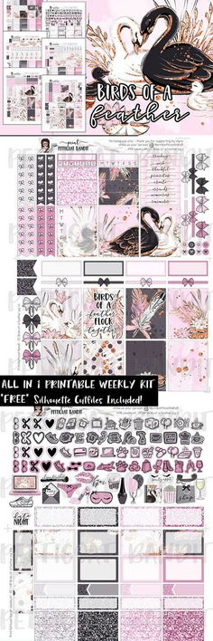 Printable weekly planner sticker kit is formatted for the Erin Condren and Happy Planner. Perfect for DIY EC & HP weekly sticker kit creation as Cut Files are included (Silhouette Studio cutfiles). #ad