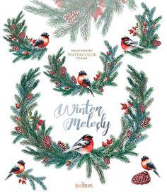 Decorazioni di Natale acquerello. Abete rosso in di ReachDreams
