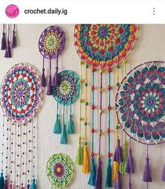 Large Teal, Turquoise, and Purple Dream Catcher with a Vintage Hand Dyed Doily, Flowers, and Peacock Feathers by mable - IJK KIM Crochet Dreamcatcher Pattern, Crochet Mandala Pattern, Crochet Doilies, Crochet Patterns, Crochet Ideas, Purple Dream Catcher, Dream Catcher Boho, Dream Catchers, Crochet Baby