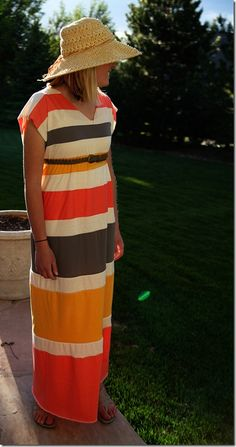 Sunshine Striped Maxi Dress...love that is has short sleeves!
