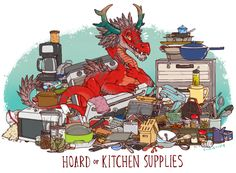 iguanamouth:  UNUSUAL HOARD commission for mexicanity - this dragon knows whats up ( but can they actually cook ??)