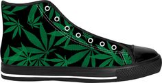 420 ganja leafs black and green sneakers, weed themed high tops, marihujana leafs pattern shoes - for more art and design be sure to visit www.casemiroarts.com, item printed by RageOn at www.rageon.com/a/users/casemiroarts - also available at www.casemiroarts.com -This product is hand made and made on-demand. Expect delivery to US in 11-20 business days (international 14-30 business days). #sneakers #clothing #style #shoes #hightops #fashion