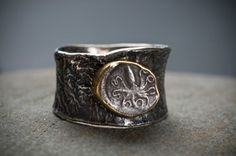 Judith Altruda -  Ancient Sicilian silver coin (400 BC) set in 18kt gold with reticulated silver band