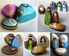 Painting Rock & Stone Animals, Nativity Sets & More: Unique Painted… Pebble Painting, Pebble Art, Stone Painting, Rock Painting, Painted Rocks Craft, Hand Painted Rocks, Christmas Rock, Christmas Nativity, Stone Crafts