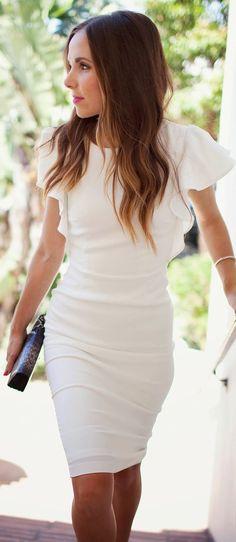 Asos White Ruffle Cap Sleeve Bodycon Midi Dress