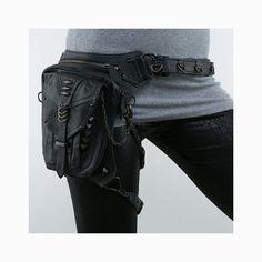 Black Leather Steampunk Leg Thigh Hip Holster Messenger Bag I need this! Thigh Bag, Leg Thigh, Money Penny, Leather Holster, Messenger Bag, Thighs, Black Leather, Legs, My Style