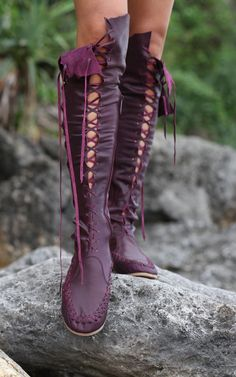 Gipsy Dharma Handmade Plum Knee High Leather Boots for Women |  perfect blending of cartoony superhero and post apocalyptic style. but they are crazy expensive.