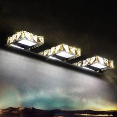 These amber crystal accented squares 3-light wall light will make your bathroom a better place to retreat to.