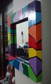 ARTECOLOR OBJETOS: ESPEJOS HECHOS Y PINTADOS A MANO 30X 30 CM Mirror Painting, Mirror Art, Painting Frames, Painted Teacher Chair, Marco Diy, Mirror Mosaic, Colorful Furniture, Art Pop, Picture Frames