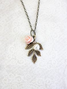 Pink Rose Necklace Nature Charm Necklace Pearl Acorn Pendant Country Chic Bronze Leaf Branch Rustic Woodland Bridal Acessories