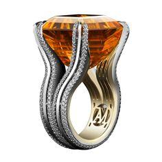 Asscher-Cut Honey Citrine Diamond Gold Platinum Cocktail Ring | 1stdibs.com