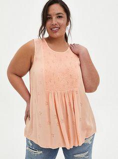 Plus Size Tank Tops, Summer Tank Tops, Plus Size Women, Torrid, Smocking, Plus Size Outfits, Plus Size Fashion, Fitness Models, Peach