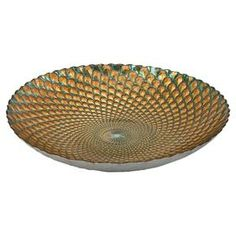 """Perfect as a catch-all in the entryway or for displaying fruit in the kitchen, this lovely glass bowl showcases a feather-inspired motif in shades of teal and gold.   Product: BowlConstruction Material: GlassColor: Teal and goldFeatures:Food safe3.97 lbsDimensions: 2.75"""" H x 15.75"""" Diameter"""