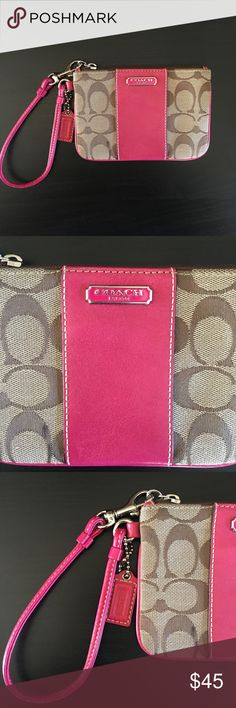 Authentic Coach Wristlet Sleek and stylish Coach wristlet. Original leather tag, perfectly working zipper, no stains or worn leather. Dimensions: height = 4.25 inches, width = 6 inches. Only used once or twice so it is still in perfect condition - it was given as a gift but not really my style. Coach Bags Clutches & Wristlets