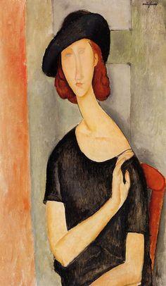 "Modigliani, ""Portrait of Jeanne Hébuterne (au Chapeau)"" Amedeo Modigliani, Modigliani Portraits, Modigliani Paintings, Italian Painters, Italian Artist, Action Painting, Pierre Auguste Renoir, Edouard Manet, Kandinsky"