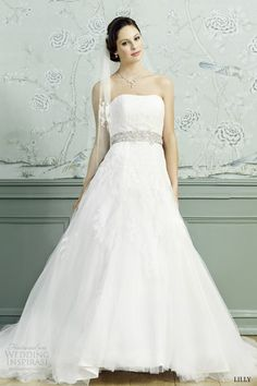 lilly #bridal 2015 #wedding dress strapless full aline ball gown #weddingdress #ballgown #weddings