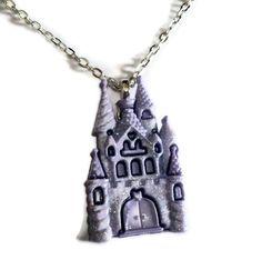 Castle Necklace, Lavender Glitter, Kawaii Necklace, Fairy Kei. $9.99, via Etsy.