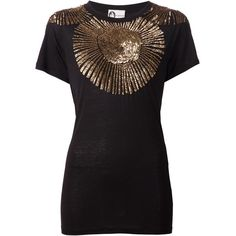 Lanvin sequin embellished top (3.680 BRL) ❤ liked on Polyvore featuring tops, black, lanvin top, lanvin and sequin top