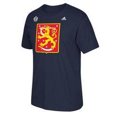 Men's Finland Hockey adidas Navy 2016 World Cup of Hockey Primary Logo T-Shirt