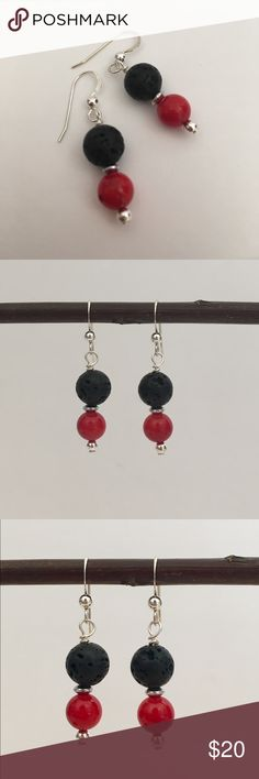 Coral Essential Oil Diffuser Earrings ✨ Beautiful Red Coral Stones with Black Lava Stones and Sterling Silver Earwires and bead⭐️ Use with Essential Oils ( put drop of your favorite Oil on Lava Stone and Enjoy aa day) INCLUDES Doterra Sample Essential Oil and Organza gift bag Jewelry Earrings