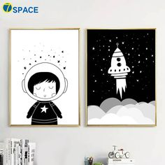Cartoon Child Rocket Canvas Painting Wall Art Canvas Posters And Prints Nordic Poster Black White Wall Pictures Kids Room Decor Kids Art Space, Space Artwork, Kids Artwork, Kids Room Art, Art Kids, Canvas Poster, Canvas Wall Art, Wall Art Prints, Baby Wall Art