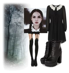 """Wednesday Addams"" by riotofthedamned ❤ liked on Polyvore featuring women's clothing, women's fashion, women, female, woman, misses, juniors, addamsfamily and WednesdayAddams"