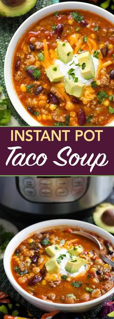 Instant Pot Taco Soup is a delicious and hearty soup made with beans, corn, ground beef or turkey, and lots of other good stuff. A pressure cooker taco soup that is easy to make! simplyhappyfoodie.com #instantpotrecipes #instantpottacosoup #instantpotsoup #pressurecookertacosoup