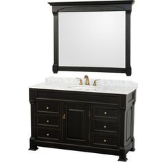 Wyndham Collection Andover Black Undermount Single Sink Oak Bathroom Vanity with Natural Marble Top (Common: 55-in x 23-in; Actual: 55-in x 23-in)