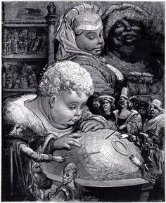 """""""Education of Gargantua"""".Gustave Doré (1832-1883). Illustration from 'Gargantua' by Francois Rabelais (1494-1553) engraved by Paul Jonnard-Pacel (d.1902). Museum: Bibliothèque Nationale, Paris. #Globe"""