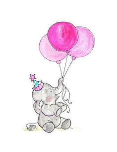 Oh Happy Day -- Archival Print Blueberry Cotton Candy Cute pictures for the nursery Illustration Mignonne, Illustration Mode, Watercolor Illustration, Baby Prints, Nursery Prints, Art Mignon, Cute Elephant, Elephant Nursery Art, Baby Art