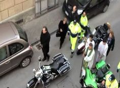 Outrageous traffic jam caused by a fiat 500 making a u-turn involves motorcycle gangs, a religious procession and angry Italians.