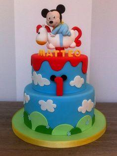 Baby Mickey on Rocking Horse Cake Mickey And Minnie Cake, Minnie Mouse Cake, Baby Mickey, Rocking Horse Cake, Christening Cake Boy, Boys First Birthday Cake, Bithday Cake, Friends Cake, Creative Desserts