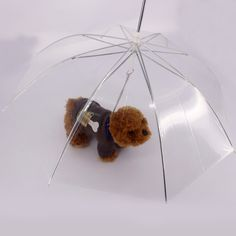 1Pcs Clear Pet Dog Umbrella PE Plastics Small Dog Umbrella Rain Gear with Dog Leads Keeps Pet Dry Comfortable in Rain Snowing